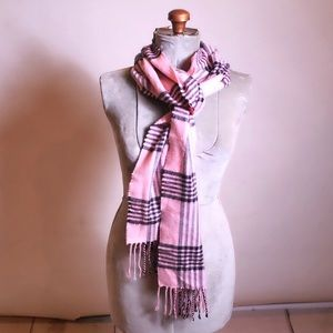 Accessories - Pink Plaid 100% Cashmere Long Scarf
